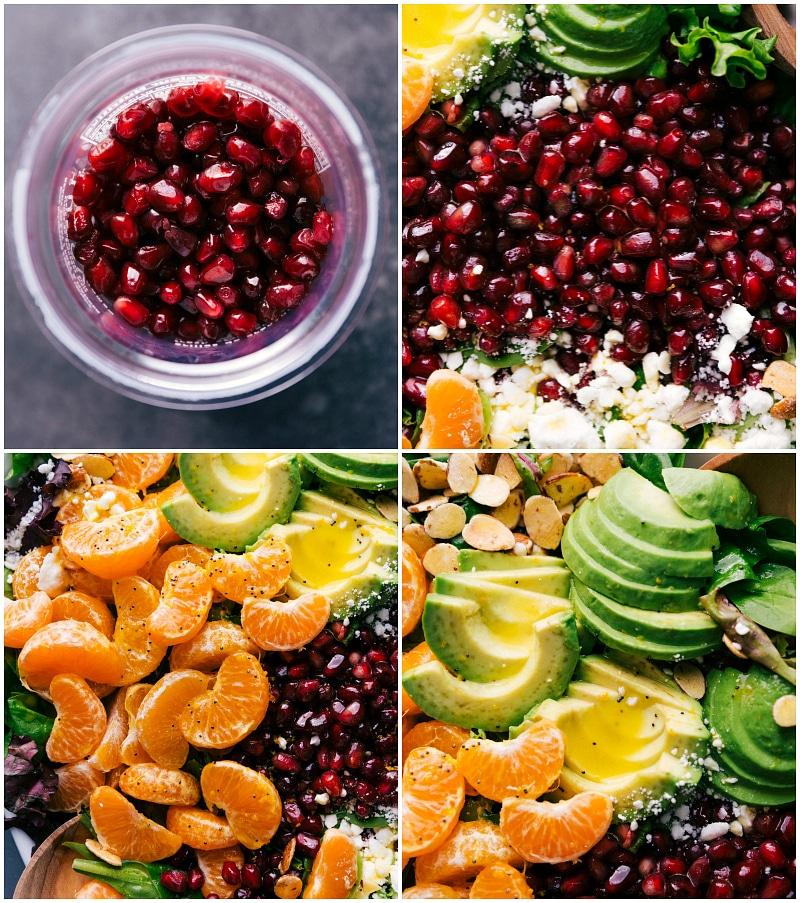 Process shots-- images of the pomegranates, oranges, and avocados on the salad.
