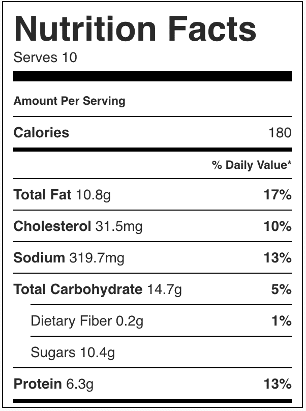Nutrition Facts for hot chocolate bar