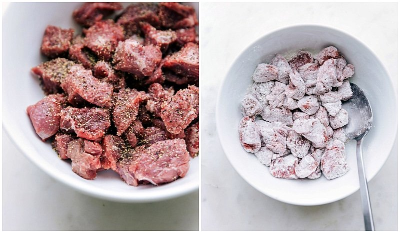 Process shot-- Image of the beef in being mixed with the flour