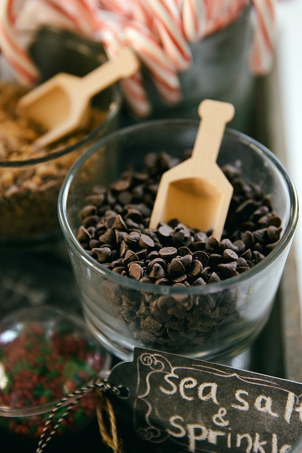 Up close photo of miniature chocolate chips at hot chocolate bar