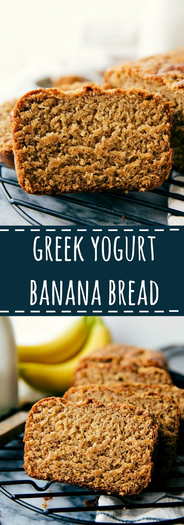 Delicious healthier Greek Yogurt banana bread