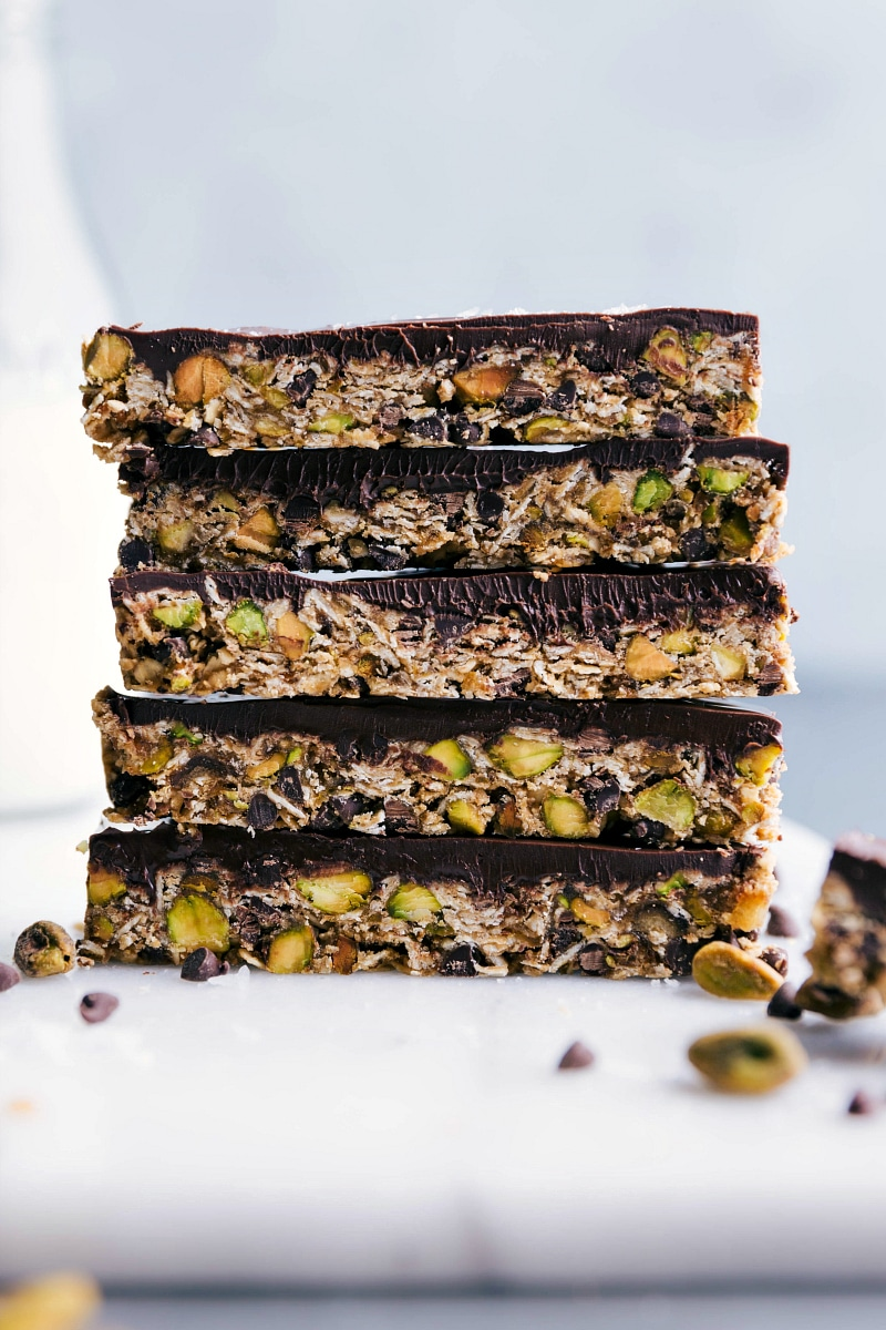 Up-close image of Granola Bars being stacked on top of each other.