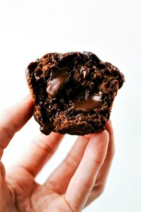 "Delicious ""bakery style"" GREEK YOGURT chocolate banana muffins made healthier"