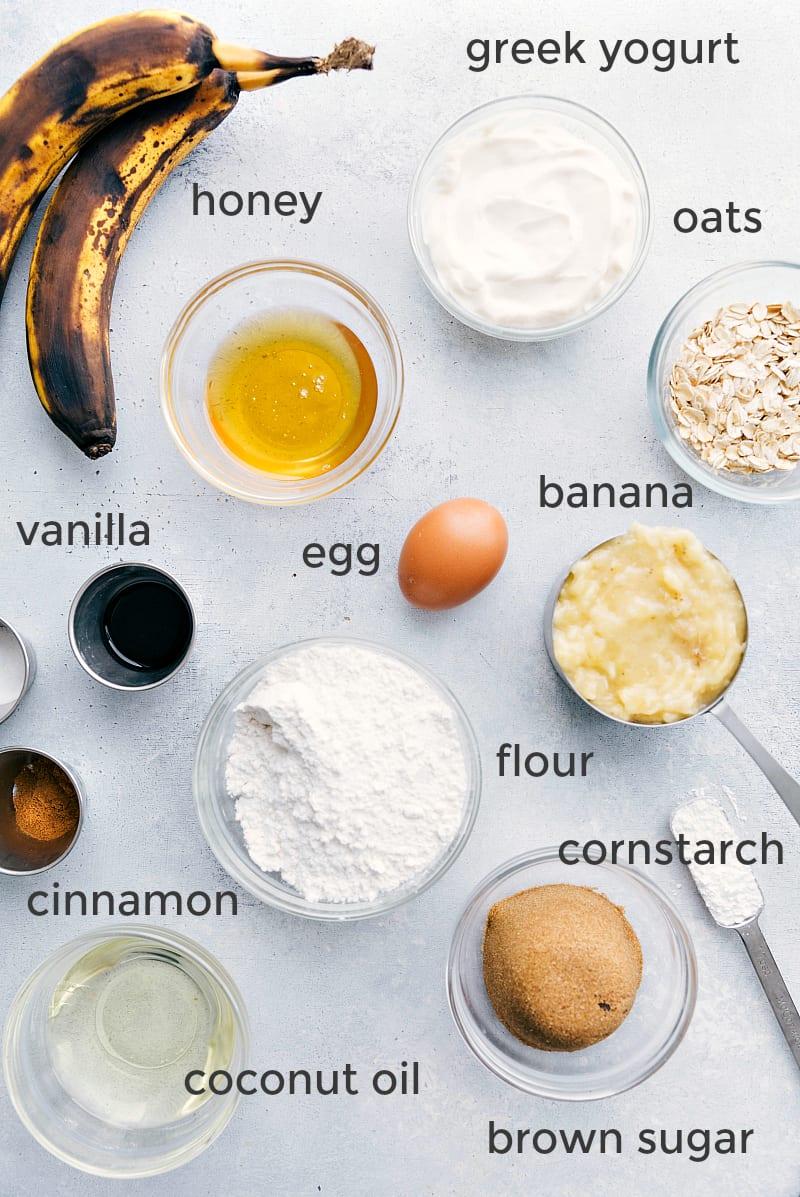 Overhead shot of the healthy banana bread ingredients