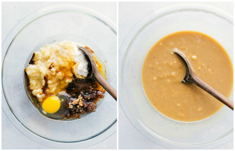 Overhead shots of the process of making healthy banana bread: mixing wet ingredients together