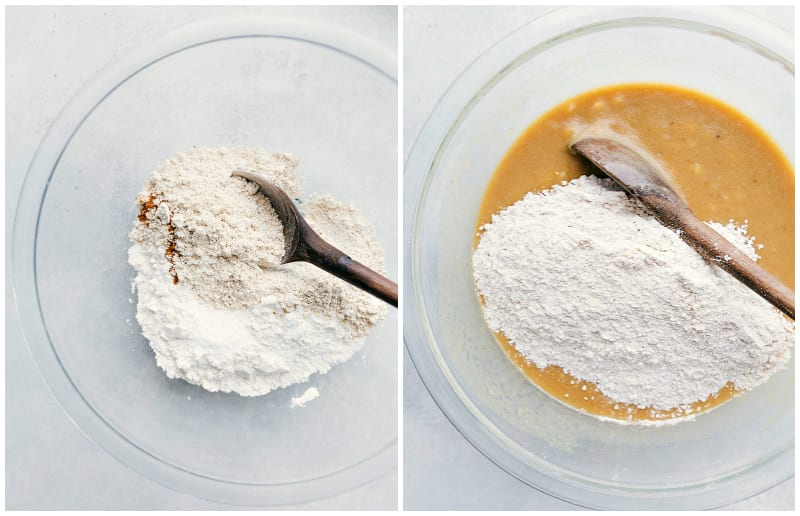 Overhead shots of the process of making healthy banana bread: mixing dry ingredients together