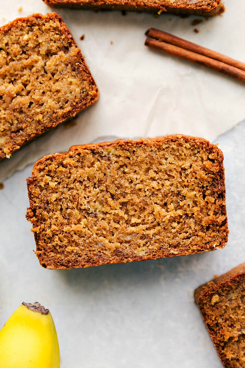 Image of several slices of Banana Bread With Greek Yogurt.