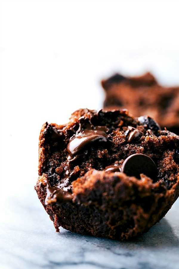 Up close shot of the inside of a healthy banana chocolate chip muffin