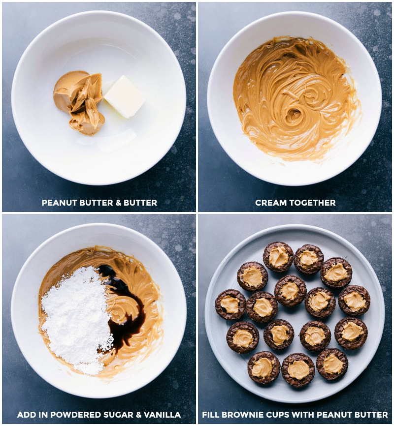 Process shots: Cream the peanut butter and butter; add in powdered sugar and vanilla and mix well; fill brownie cups with the peanut butter mixture.