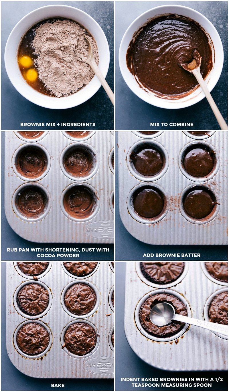 Process shots: bowl with brownie mix and other ingredients; mix to combine; grease pan and dust with cocoa powder; add batter to the pan; bake; create an indent in each hot brownie.