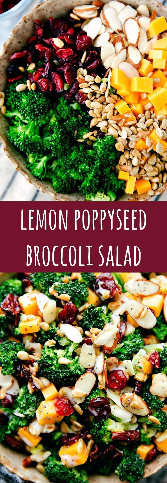 A delicious, simple, and quick lemon poppyseed broccoli salad. Broccoli, dried cranberries, sunflower seeds, sharp cheddar cheese, and sliced almonds with a delicious creamy lemon poppyseed dressing.