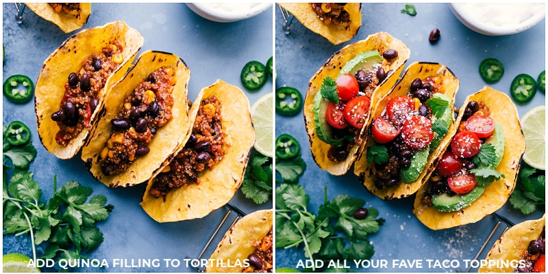 Image of the toppings being added to Quinoa Tacos.