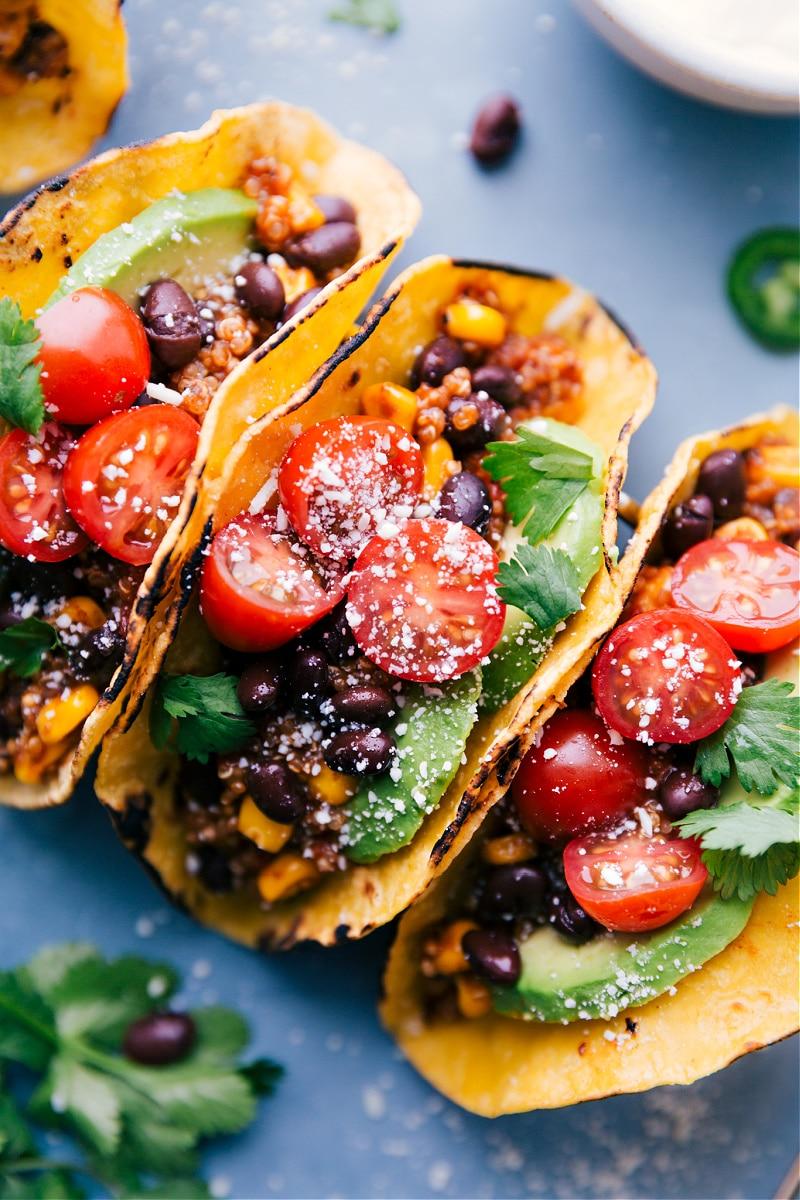 Up-close overhead image of Quinoa Tacos