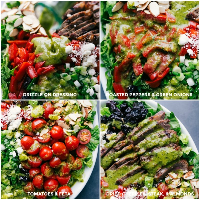 Images of the dressing being drizzled over all the different parts of the salad.