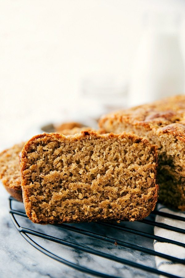 One slice of moist and healthy banana bread in focus