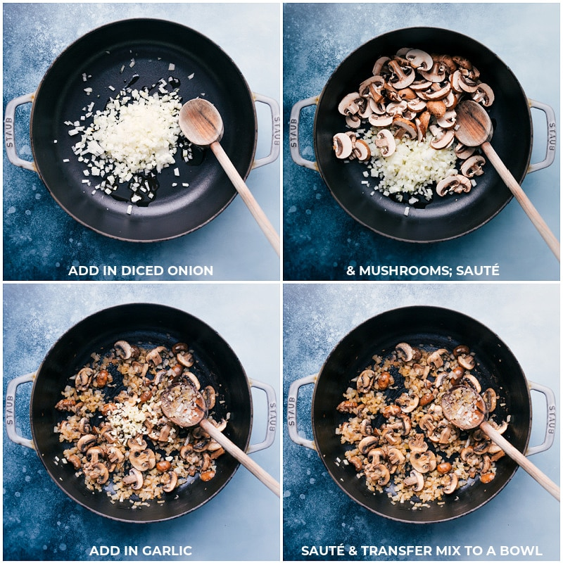 Process shots-- images of the onions, mushrooms, and garlics being sautéed.