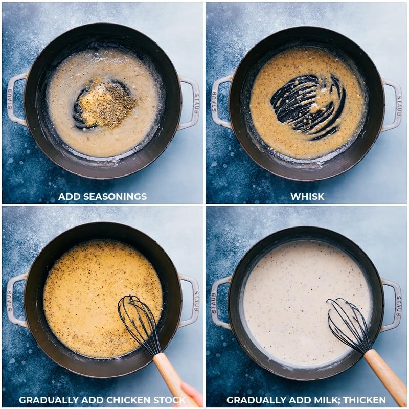 Process shots-- making the sauce