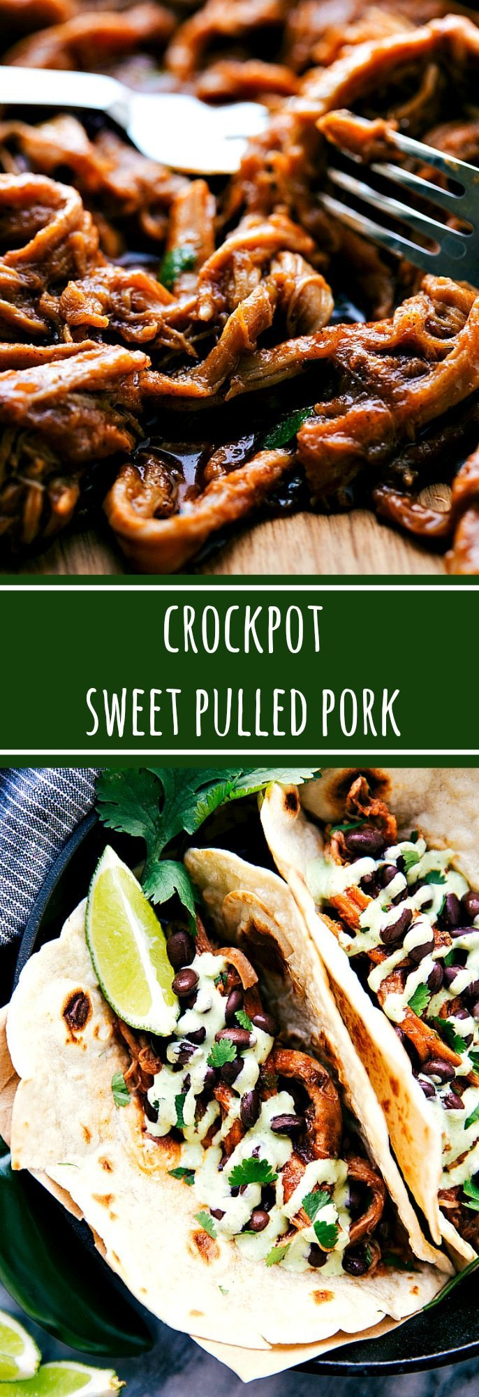 The BEST Crockpot Sweet Pulled Pork with an easy blender tomatillo cream sauce