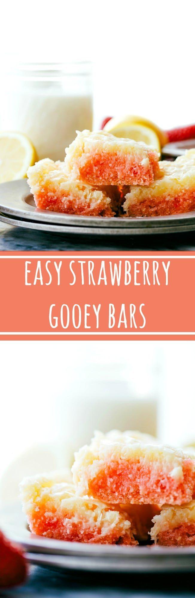 Delicious SIMPLE strawberry gooey cheesecake cake bars