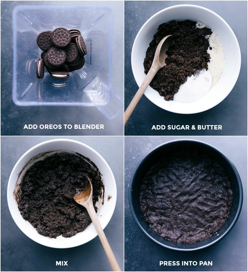 Process shots-- images of the Oreo crust being made for the No Bake Peanut Butter Cheesecake