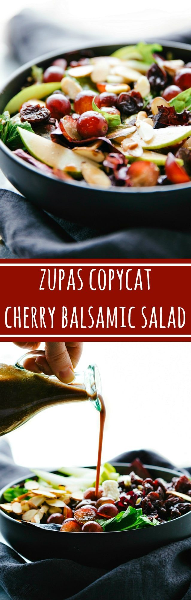 The easiest blender cherry balsamic dressing on a simple Zupas copycat salad!