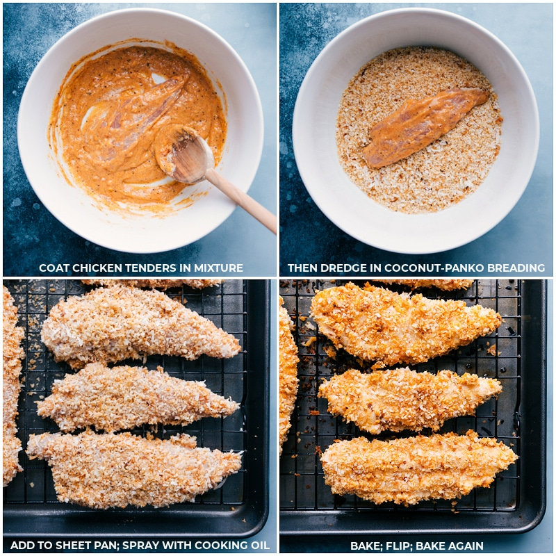 Process shots: coating, dredging, spraying and baking the chicken tenders