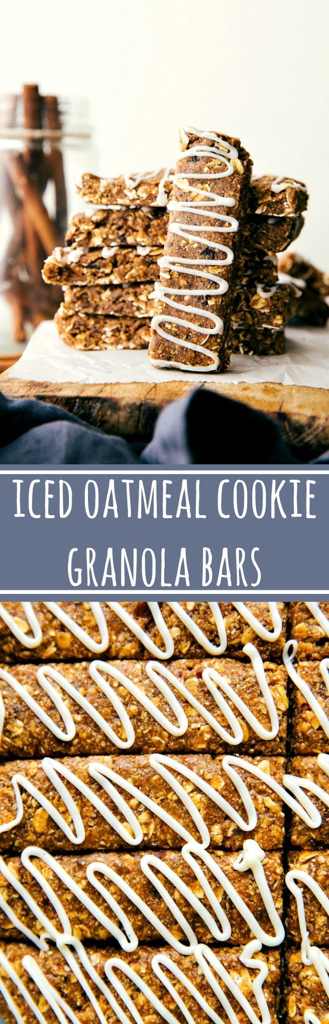 Easy to make (no baking!) soft and chewy granola bars made to taste like an iced oatmeal cookie