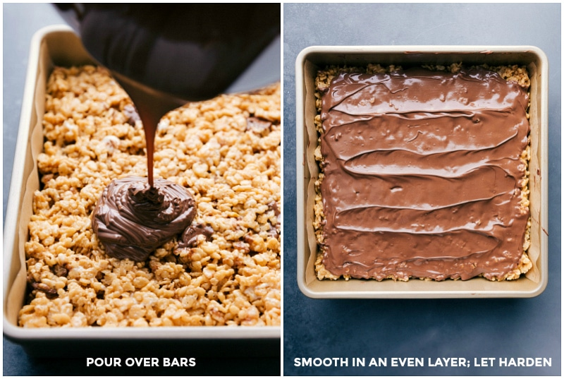 Images of the chocolate being poured over the bars and smoothed into an even layer.
