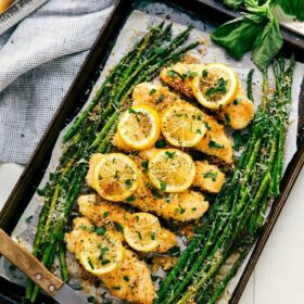 Delicious ONE PAN Lemon Parmesan Chicken and Asparagus