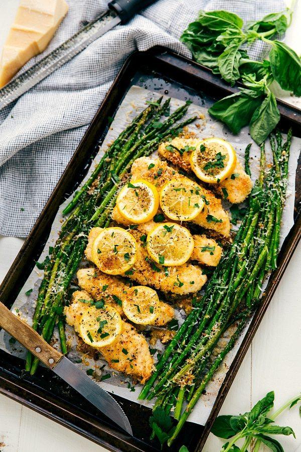 One Pan Lemon Parmesan Chicken And Asparagus Chelseas Messy Apron