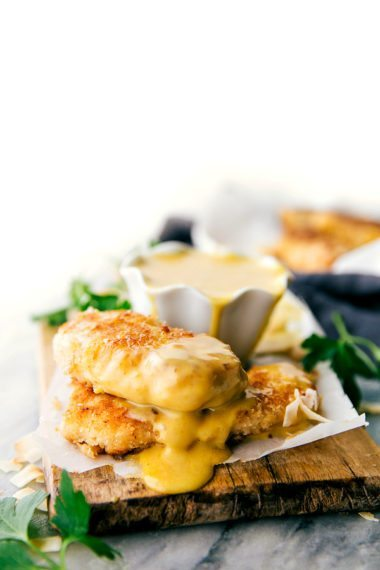 Delicious and simple baked coconut-crusted chicken tenders with an easy four-ingredient honey mustard dipping sauce.