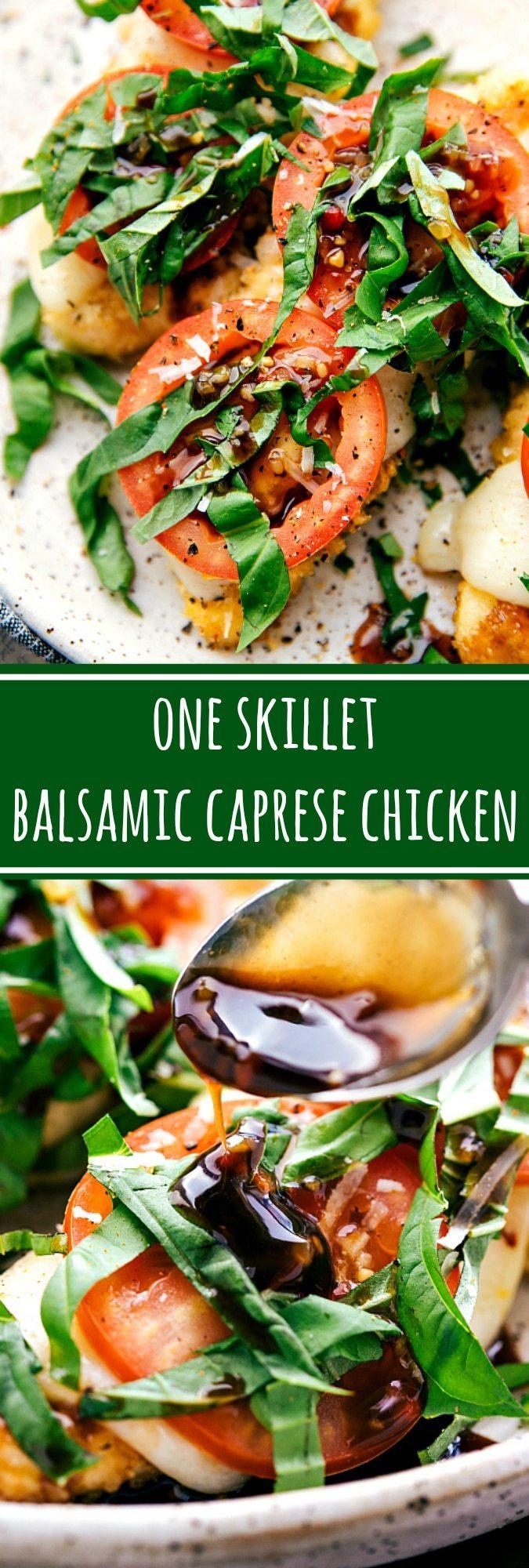 The EASIEST chicken dinner! One skillet, 10 easy ingredients caprese chicken