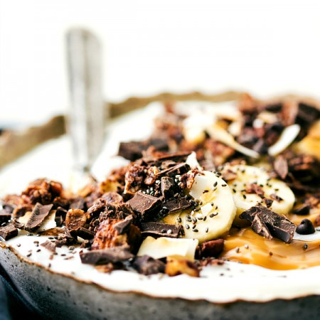 Creamy Coconut Yogurt Bowl with Chocolate Granola (Video)