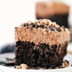 A delicious and easy to make chocolate nutella poke cake with an incredible mousse frosting.