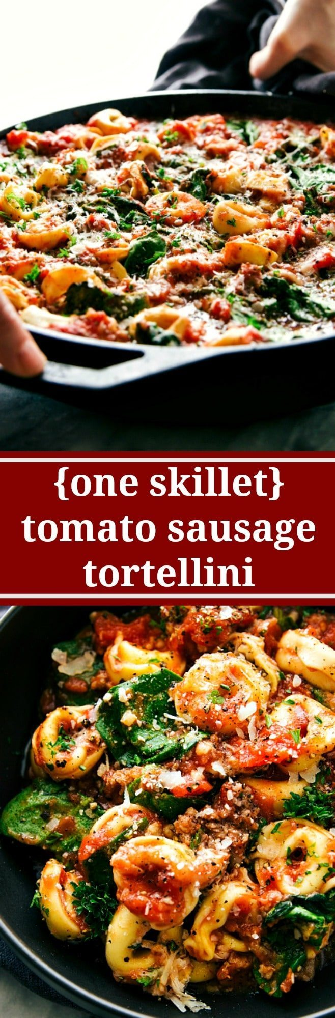 A super easy, 15-minute prep, ONE SKILLET tomato tortellini with sausage. This is an easy family-friendly meal!