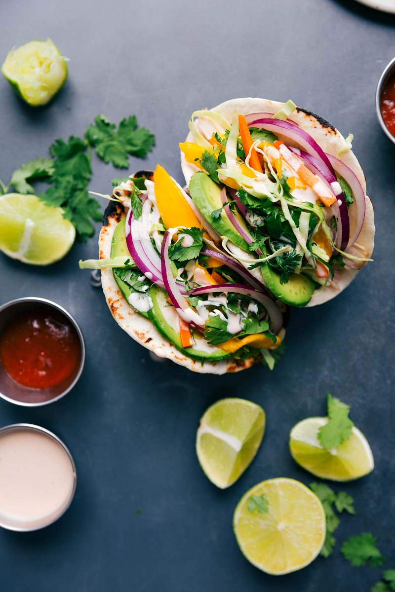 Overhead view of Asian Chicken Tacos.
