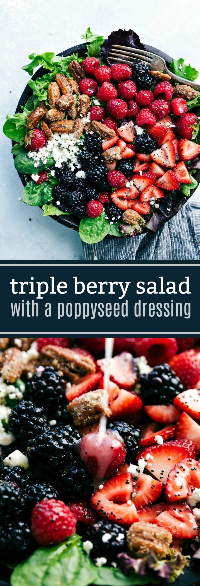 Triple Berry Spinach Salad with Candied Pecans - Chelsea's Messy Apron