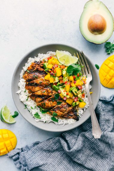 Cilantro-Lime Chicken with a Mango Avocado Salsa