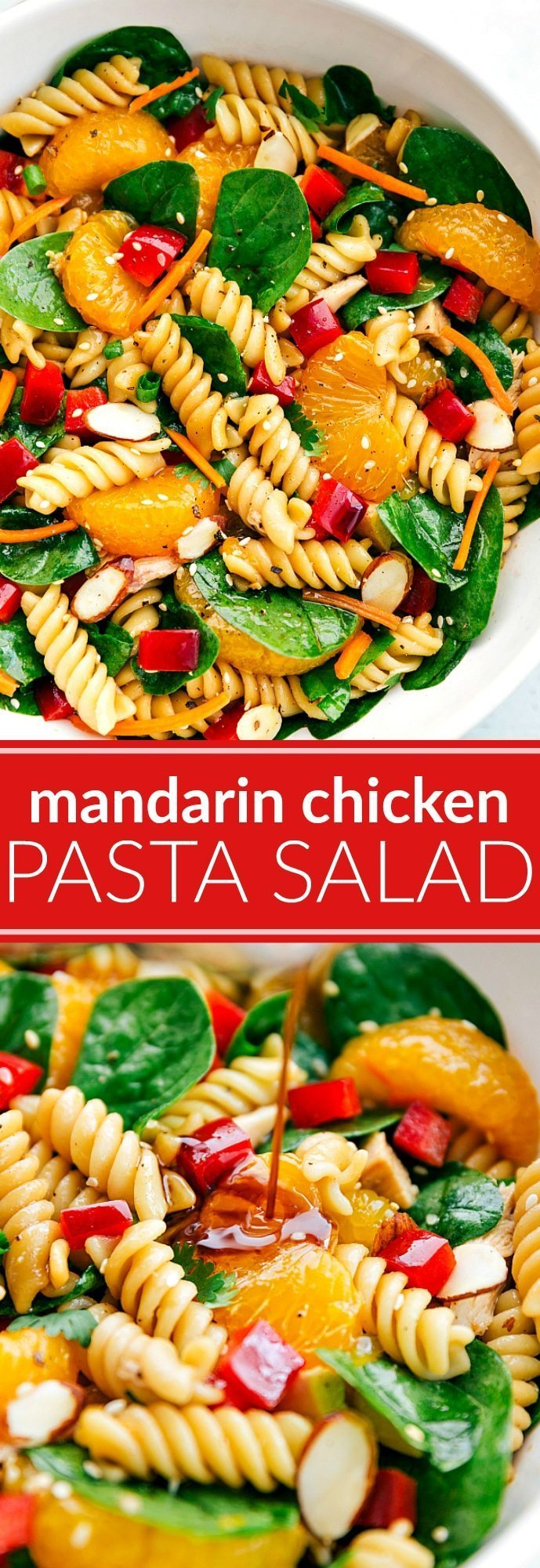 The ultimate BEST EVER Asian Pasta Salad! Mandarin, chicken, almond pasta salad with the BEST sesame dressing! via chelseasmessyapron.com