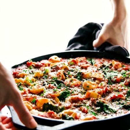 One Skillet Tomato Tortellini with Sausage
