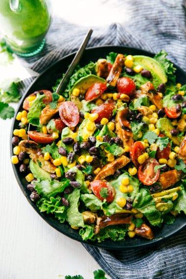 BBQ Chicken Salad with Avocado Cilantro Dressing