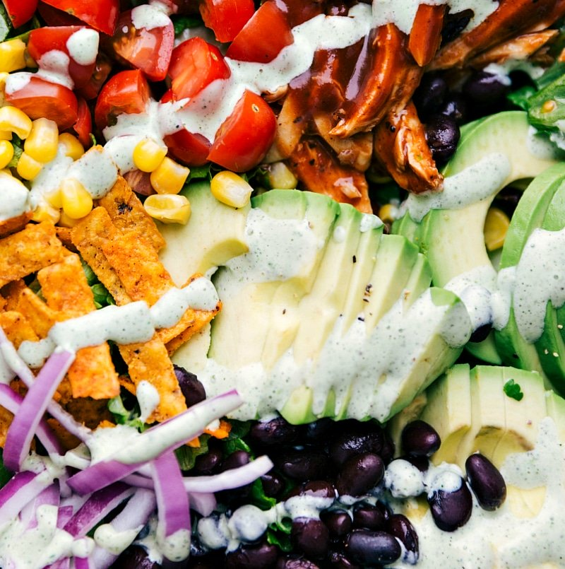 Up close overhead image of the different components of this salad. freshly dressed.