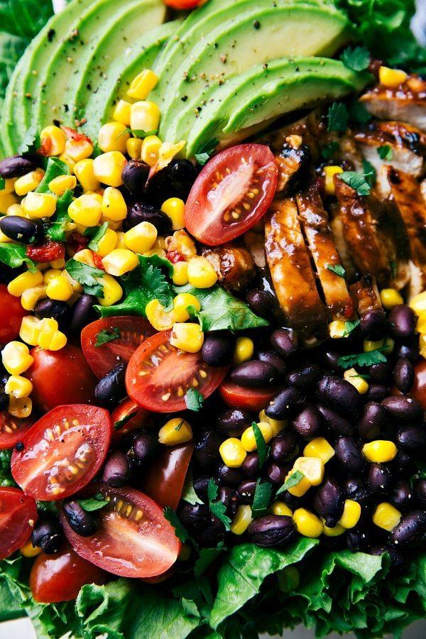 grilled BBQ chicken salad with a healthy avocado-cilantro dressing ...