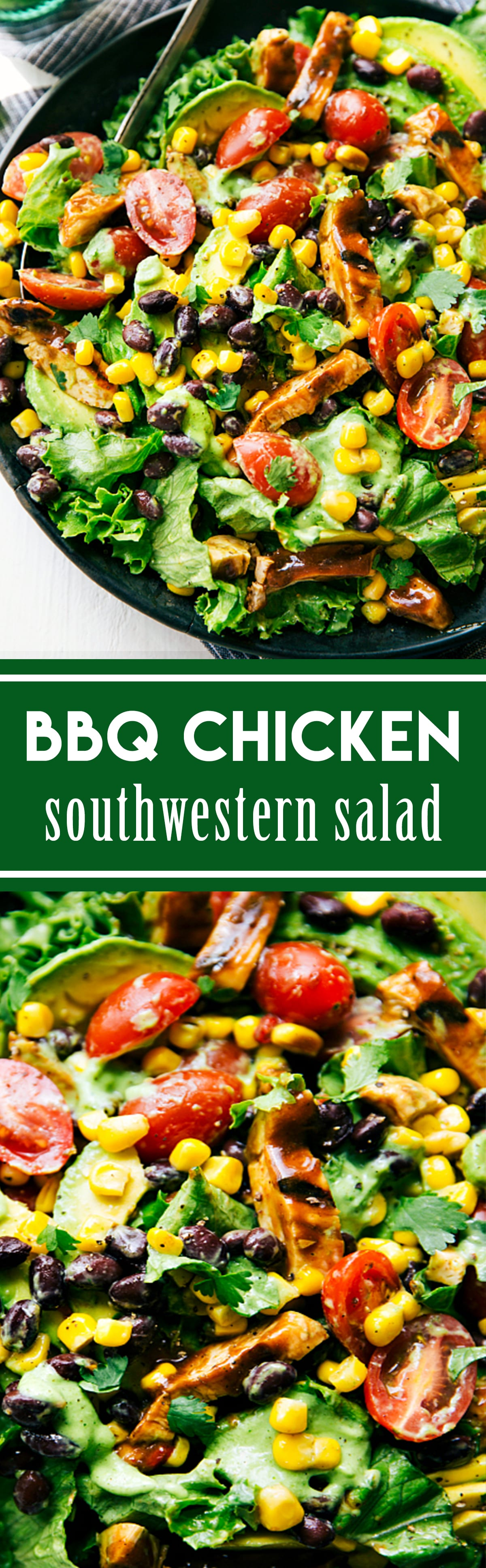 BBQ Chicken Salad with Avocado Cilantro Dressing - Chelsea's Messy ...