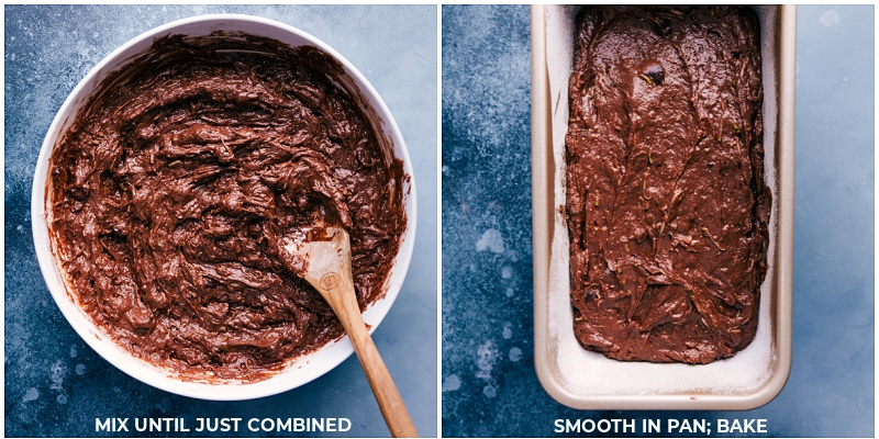 Process shots-- images of the chocolate zucchini bread batter being added to the pan