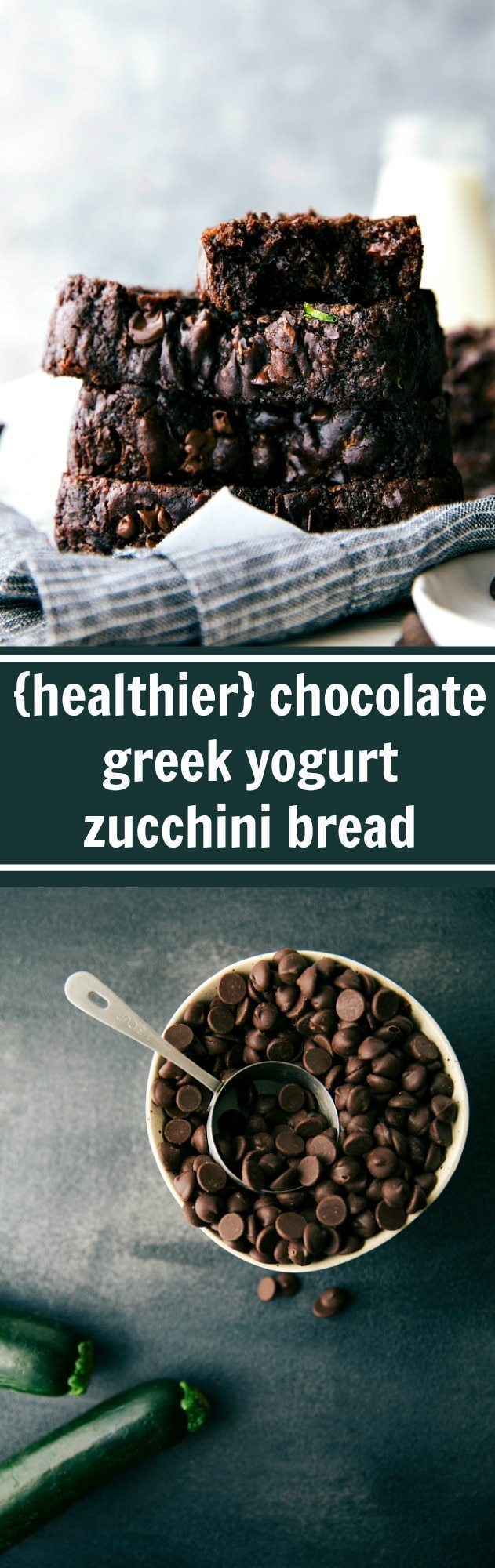 Chocolate Greek Yogurt Zucchini Bread made with healthier ingredients and lower sugar!