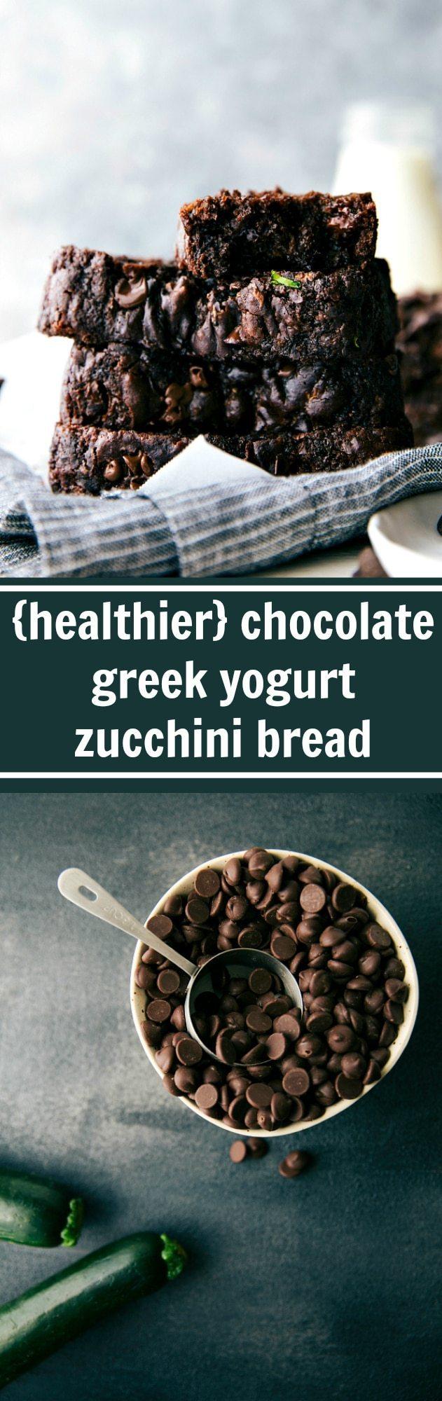 Chocolate Greek Yogurt Zucchini Bread made with healthier ingredients and lower sugar!