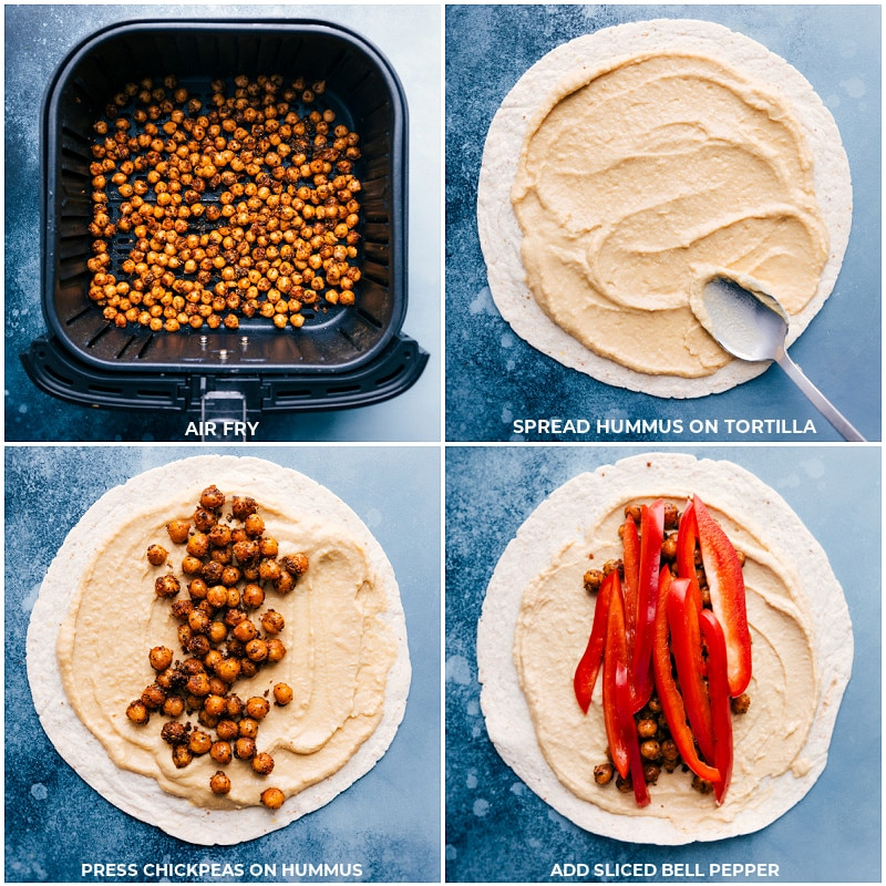 Process shots--chickpeas in the air fryer; adding hummus to the tortillas; adding the chickpeas and bell peppers