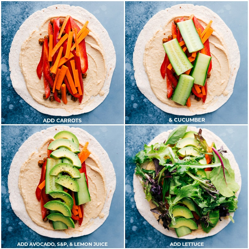 Process shots-- layers of carrots, cucumbers, avocados, and lettuce on the tortillas for these Hummus Wraps