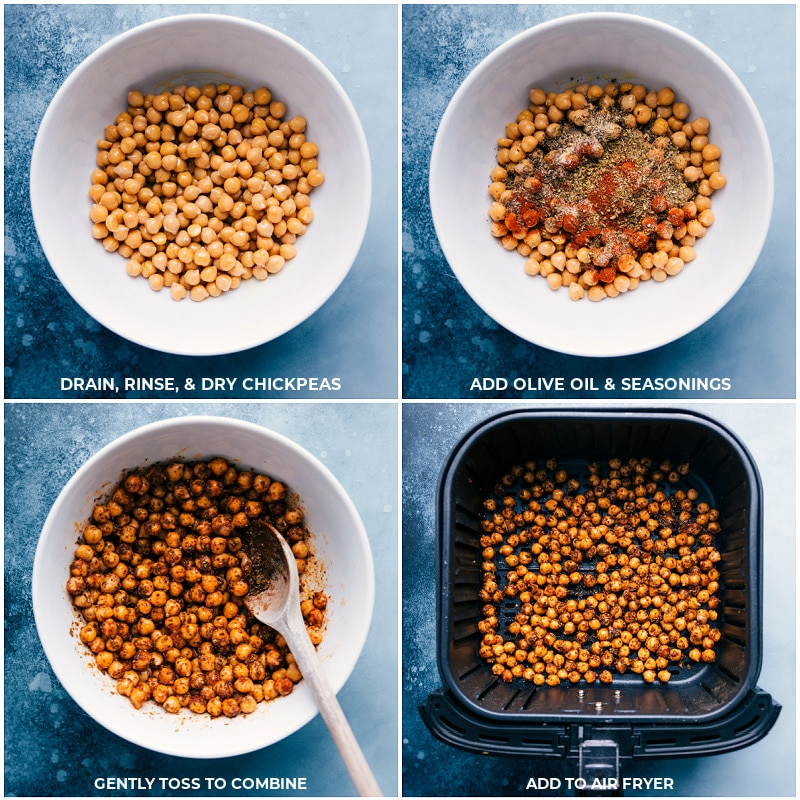 Process shots-- tossing chickpeas with seasonings; adding to the air fryer